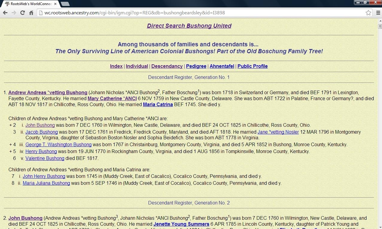 Access And About The Bushong United Family Tree And Gedcom As Hosted